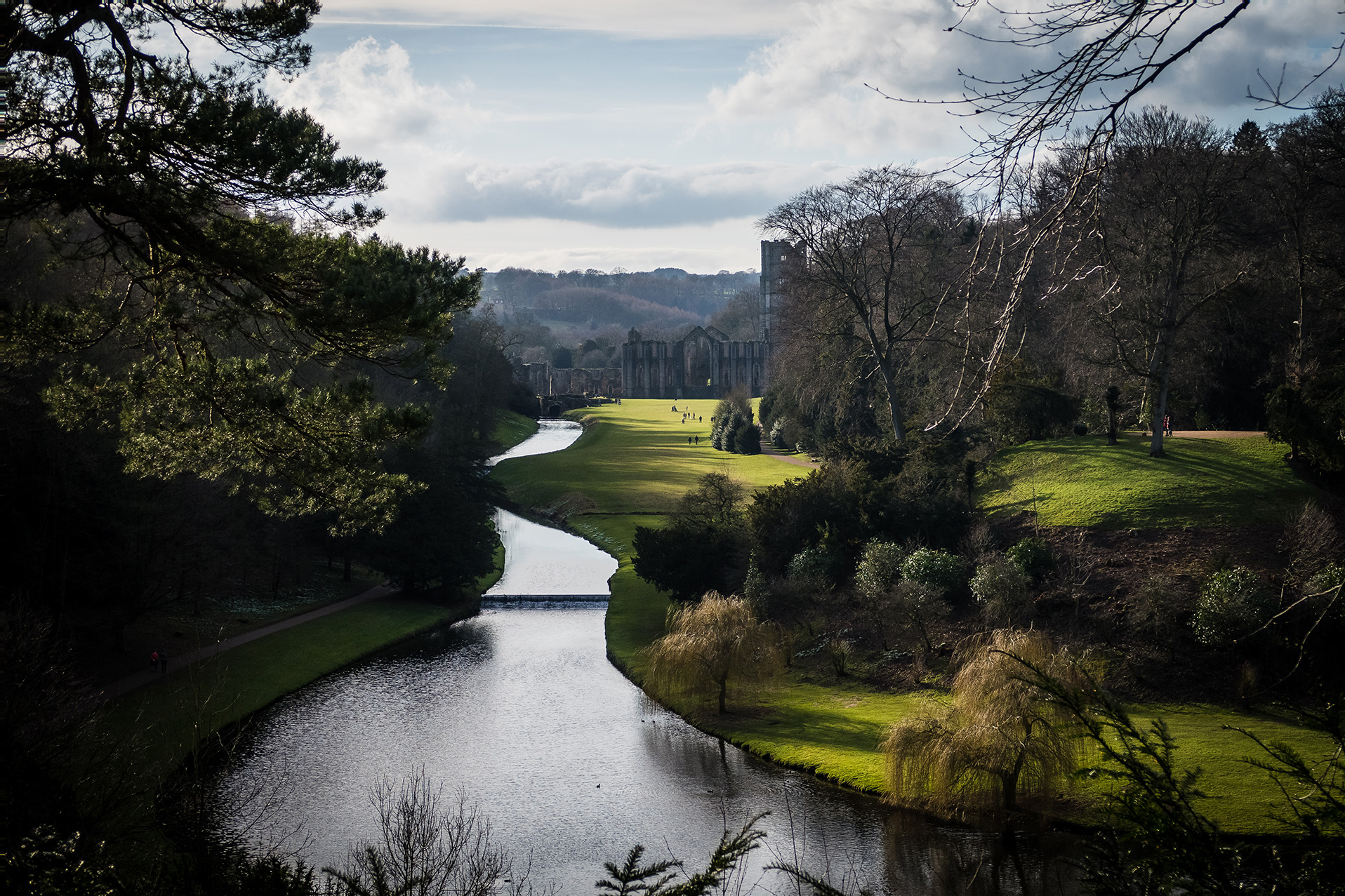 scenic view at Fountains Abbey national trust yorkshire