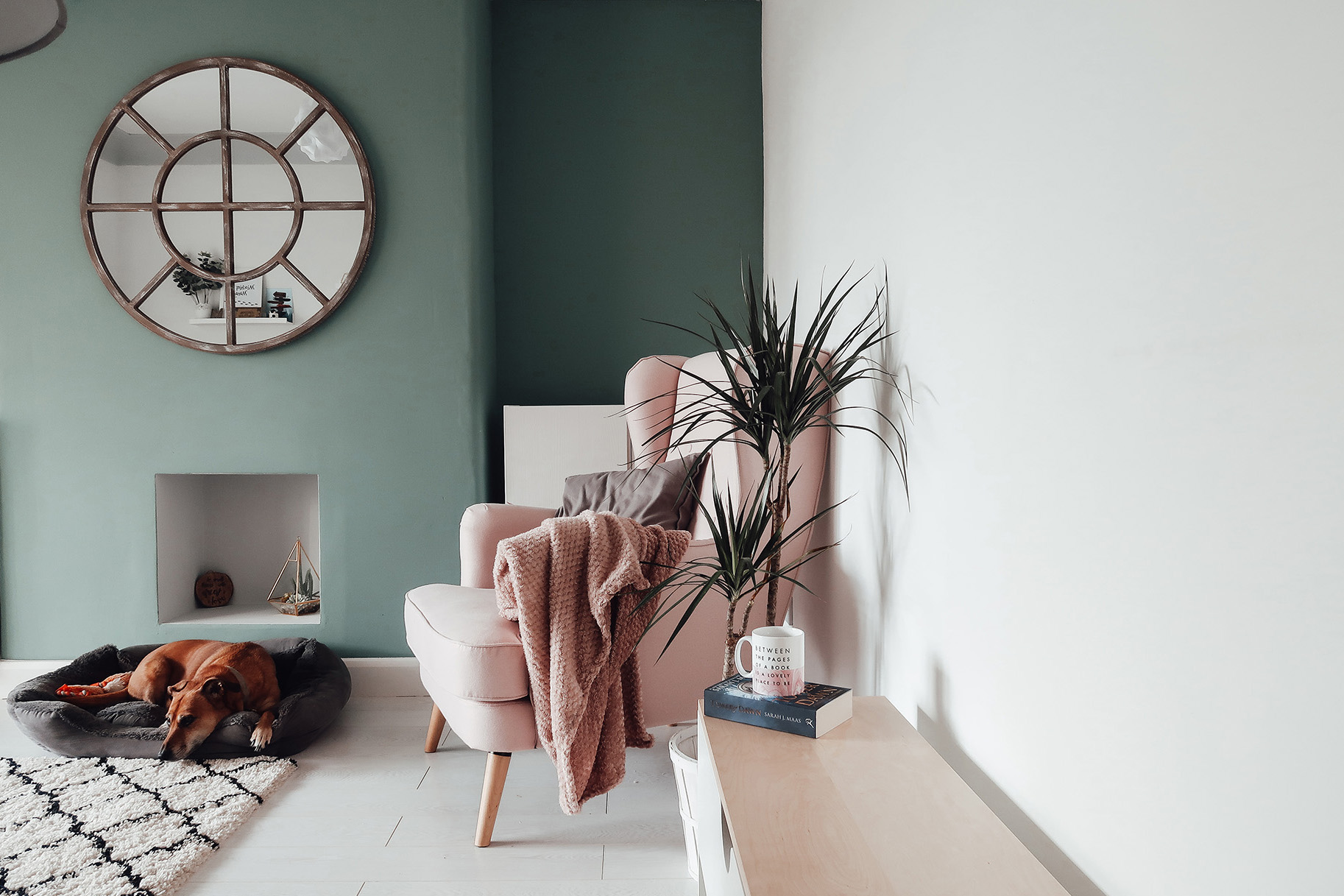 hygge home cosy blanket green walk inspiration