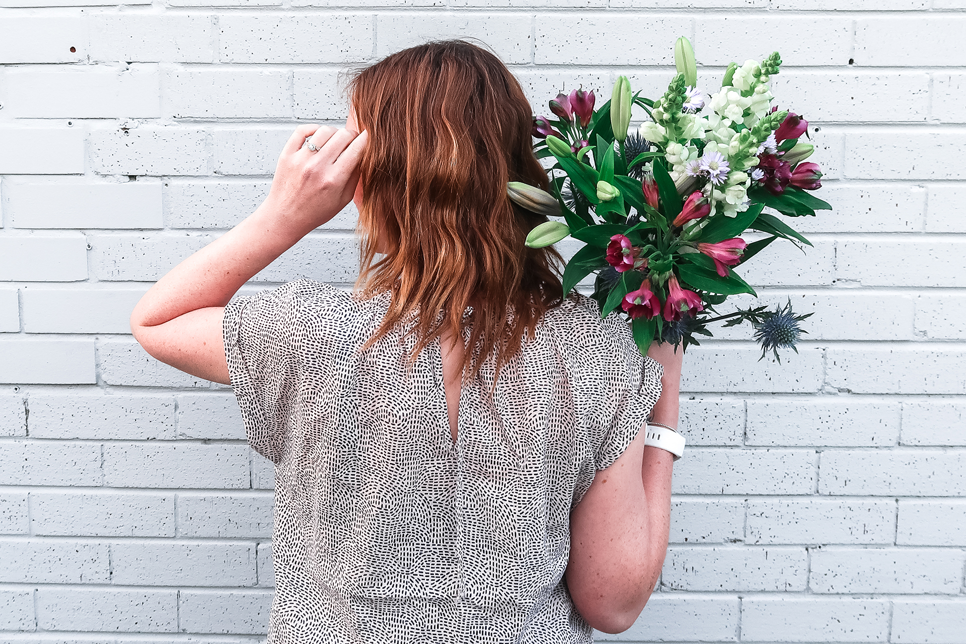 flowers over shoulder