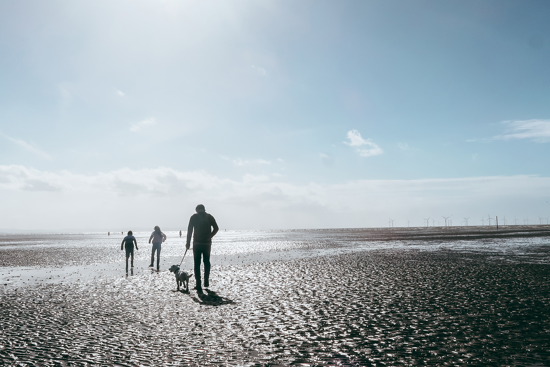 family on beach in silhouette